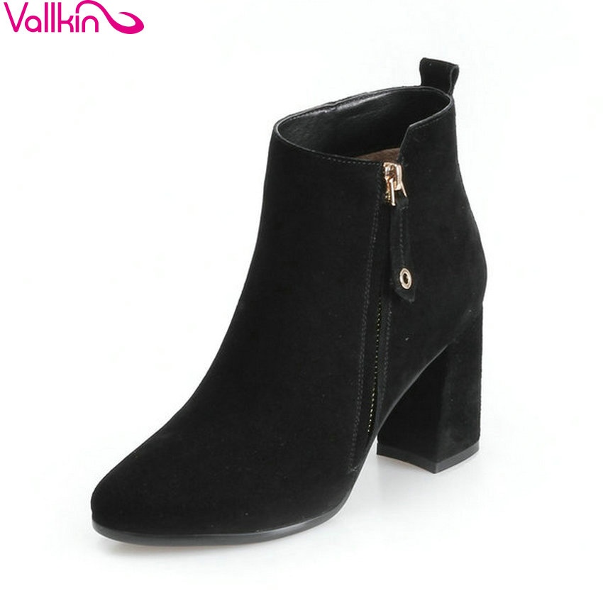 VALLKIN 2018 Women Boots Sweet Style Pointed Toe Square High Heels Ankle Boots Short Plush/PU Elegant Ladies Boots Size 34-39 esveva 2018 women boots sweet style zippers square high heels pointed toe ankle boots chunky short plush ladies shoes size 34 39