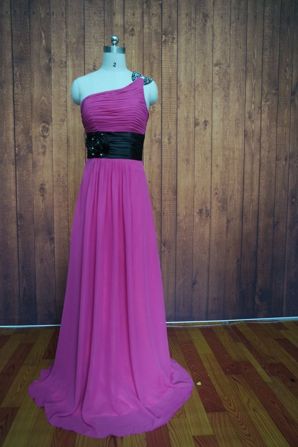 2017 Floor Length Fushisa Pleated Chiffon Bridesmaid Dresses Flowers ...