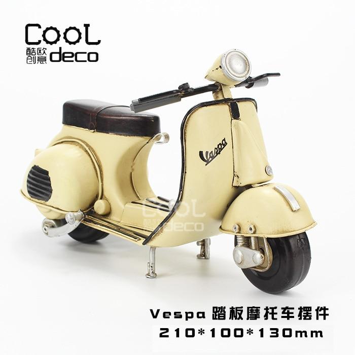 Antique ancien métal matériel rétro artisanat VESPA petit mouton pédale Moto voiture modèle petits ornements doux chargement accessoires