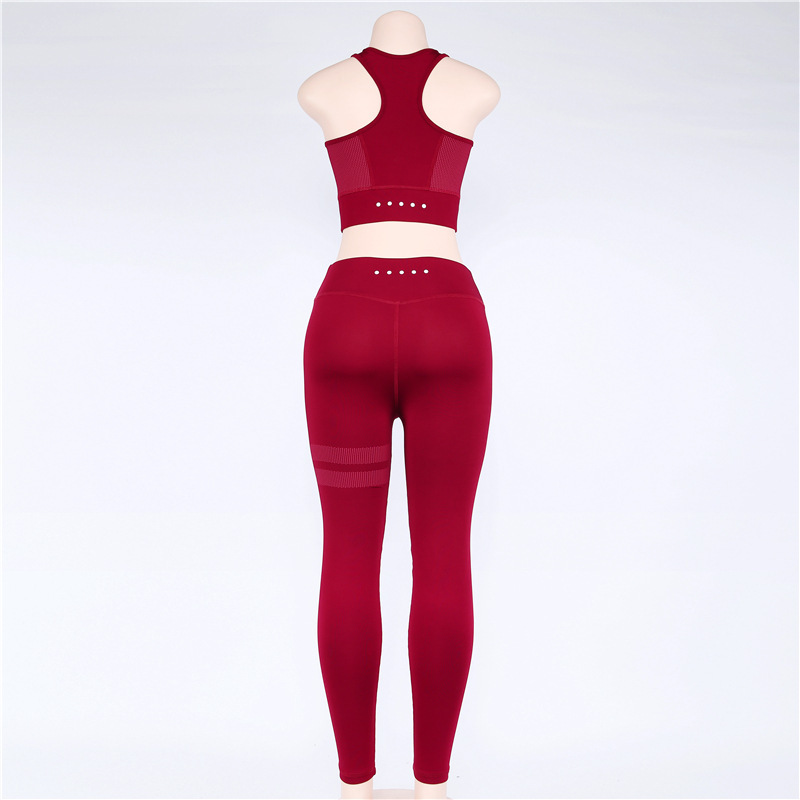 Yoga Set Women Sports Training Pants High Waist Yoga Pant Slim Sportswear Quick Dry Tight Sport Vest Fitness Suits Gym Set TZ001 in Yoga Sets from Sports Entertainment