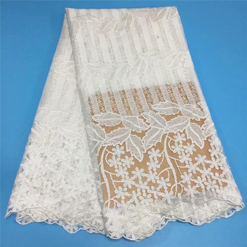 Robe de mariée africaine tissu perlé broderie de haute qualité Tulle français dentelle nigériane Tulle dentelle 2019 tissu blanc X1488