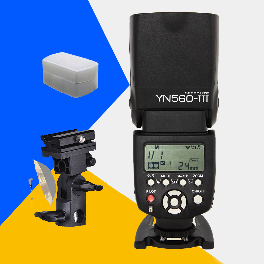 Yongnuo YN560 III Wireless Camera Speedlite YN560III YN560-III Universal Flash For Canon Nikon Sony Pentax With B-type Bracket yongnuo yn560 iv yn560iv wireless control flash speedlite for canon nikon digital slr camera with yongnuo 560tx flash trigger