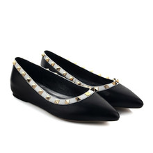 Women's Ballet Flats shoes Genuine Leather Black Mixed Colors Printing Rivets Pointed Toe Pull On Loafers Shoes Plus Size