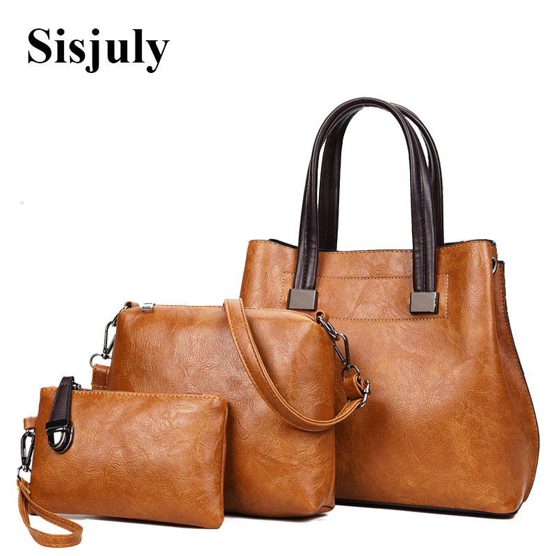 цена Sisjuly 3Pcs Bag Sets Purse and Handbag 2018 Luxury Leather Bag Handbags Women Crossbody Bags Female Designer Tote Famous Brands