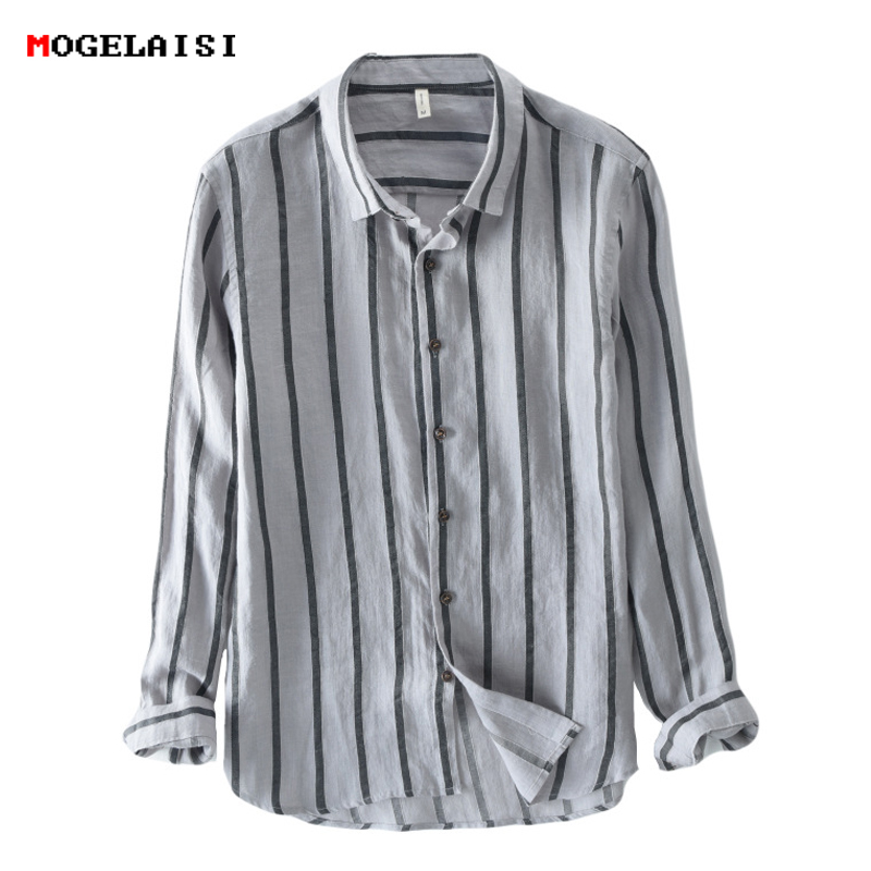 2018 new Shirt men Linen cotton long Sleeve Striped Shirt for man thin Fashion Flax Shirt Linen Men Clothing size M-3XL ...