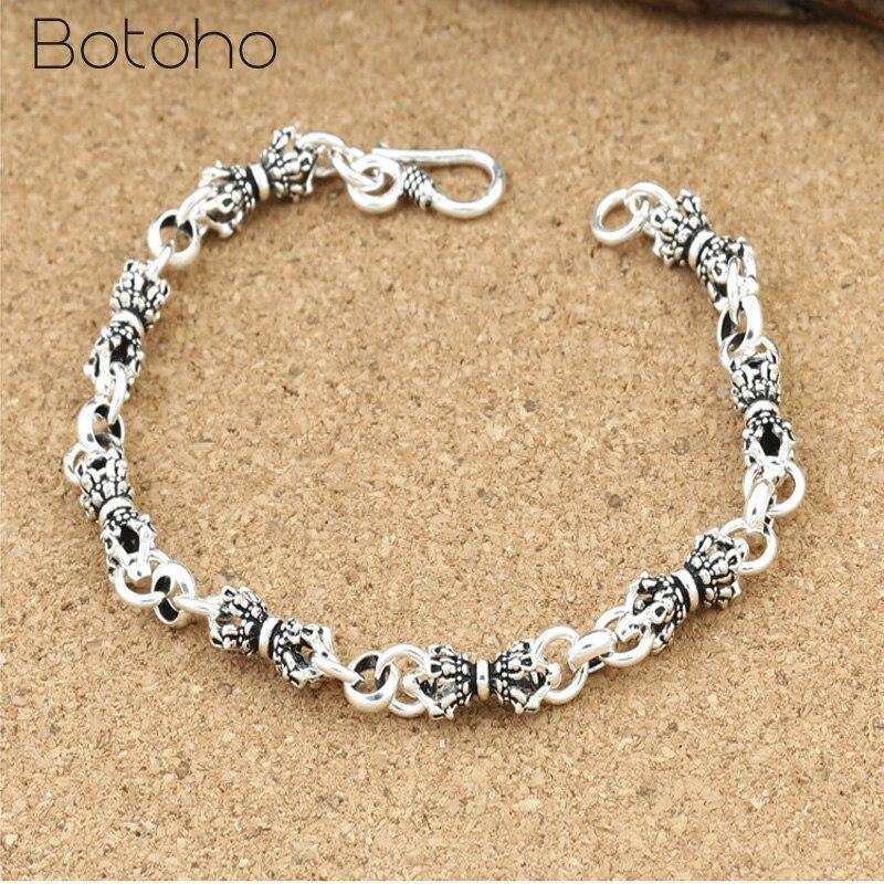Véritable 925 en argent Sterling hommes Bracelets classique main chaîne pour hommes spécial Vajra bijou breloque de mode Bracelet cadeaux d'anniversaire