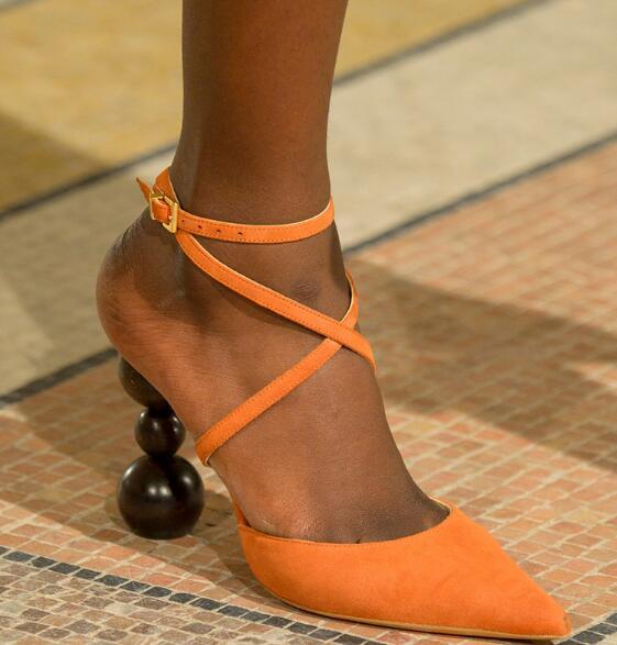 Прямая поставка; брендовые Женские однотонные пикантные вечерние туфли лодочки коричневого/черного/оранжевого цвета с перекрестными реме... - 6