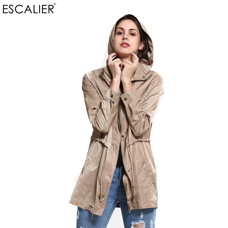 Casual Broadcloth Long Windbreaker Women Coats Spring Cotton Polyester Khaki Solid Zipper Slim Hooded S-L Trench Coat