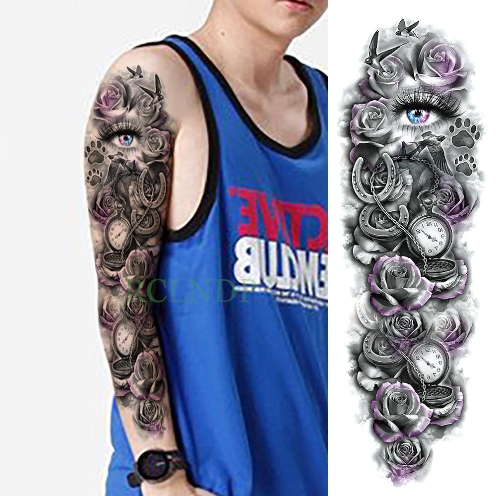 Temporary Tattoo Sticker Large Size Body Art Sketch Flower: Waterproof Temporary Tattoo Sticker Eye Rose Clock Bird