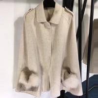 Bat Sleeve Coat Jacket Women Autumn Woolen Coat Winter White Women Wool Coat Pink with Fur
