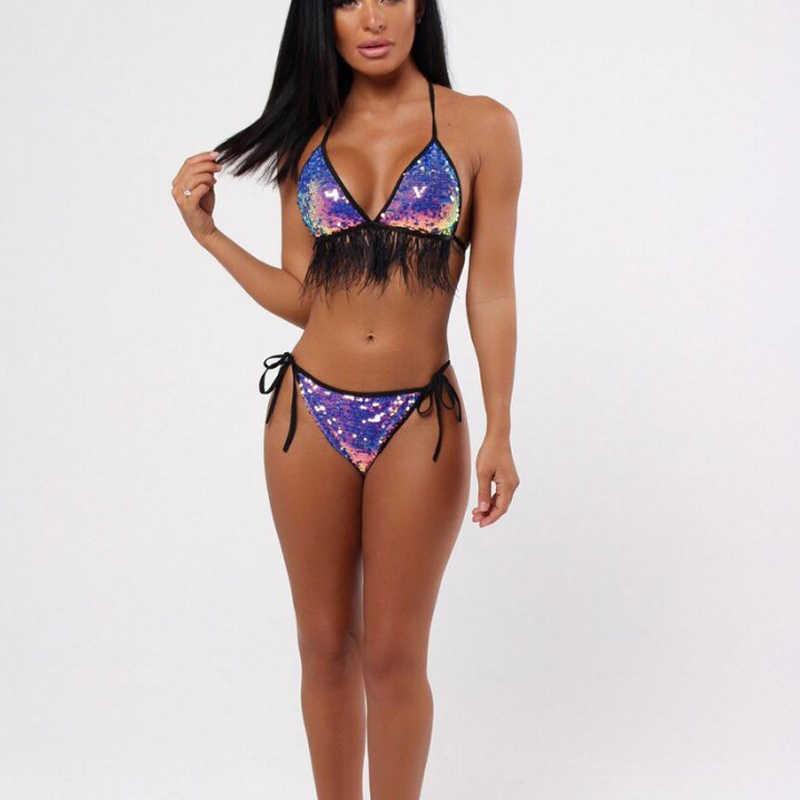 4fc2ef2293ca8 ... Halter Purple Sequin Brazilian Sexy Bikini Set 2019 Fringe Bathing Suit  Women Push Up Swimwear Female ...