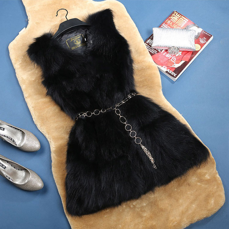 femme autumn winter genuine raccoon fur vest long sleeveless real fur jacket waistcoat/gilet black women natural fur fashion fur