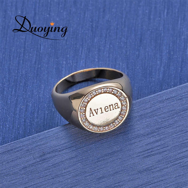 Duoying Zircon rings with love large friends ring alphabet letter rings with letter for men love bling