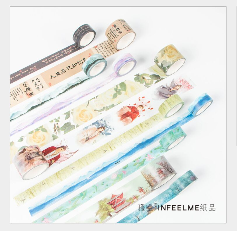 Vintage ancient poetry poem retro figure painting poetic flowers maple forest scenery washi tape DIY planner diary masking tape image