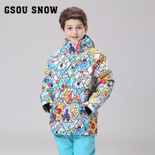 2c62ab5512f GSOU nieve abrigo deportivo traje de esquí impermeable a prueba de viento  Chaquetas niños ropa establece