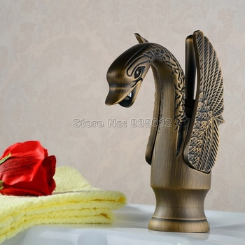 Deck Mounted Antique Brass Bathroom Basin Swan shaped Faucet Single Handle Single Hole Vessel Sink Mixer Taps Wan015
