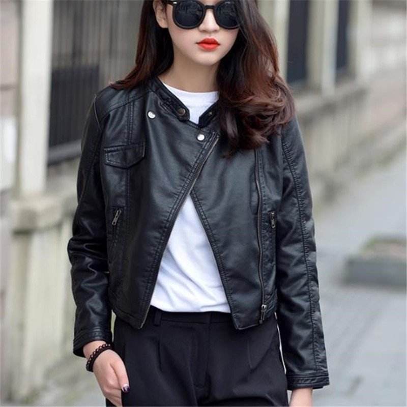 Big Size Ladies PU Moto   Jacket   Korean Street Causal Long Sleeves Autumn Fashion Women Thin   Basic     Jacket   Bomber   Jacket   S-2XL