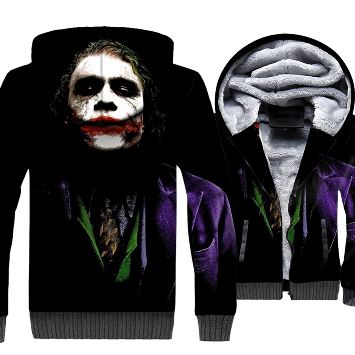 Joker Why So Serious hip-hop jackets men 2019 Batman thick casual wool liner coats clown 3D printing hooded tracksuit sweatshirt