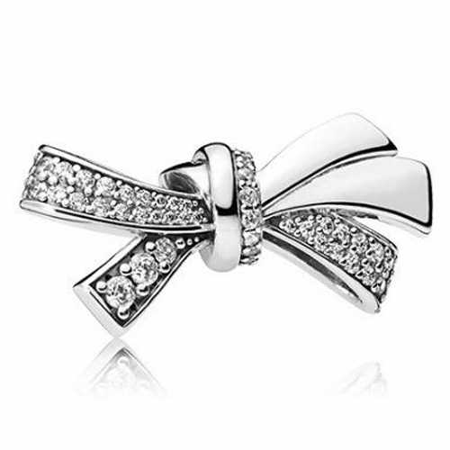 Estilo fresco Encantos Europeus DIY Flores Bowknot Asas de Cristal Beads Fit Pandora Pulseiras & Pulseiras para As Mulheres Menina Acessórios