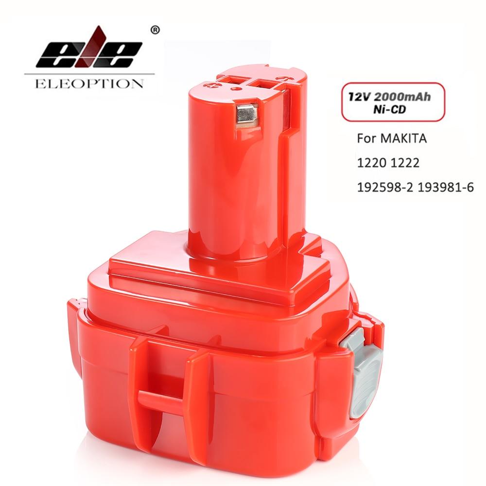 ELEOPTION 2000mAh 12V Ni-CD 2.0Ah Replacement Power Tool Battery For Makita 12V Battery PA12 1220 1233 1201 1222 1223 1235