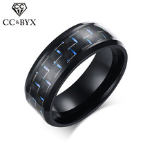 CC Vintage 8mm Stainless Steel Men Rings For Women Carbon Fibre Ring Blue/Red/Yellow Color Charms Jewelry Drop Shipping CC1340a