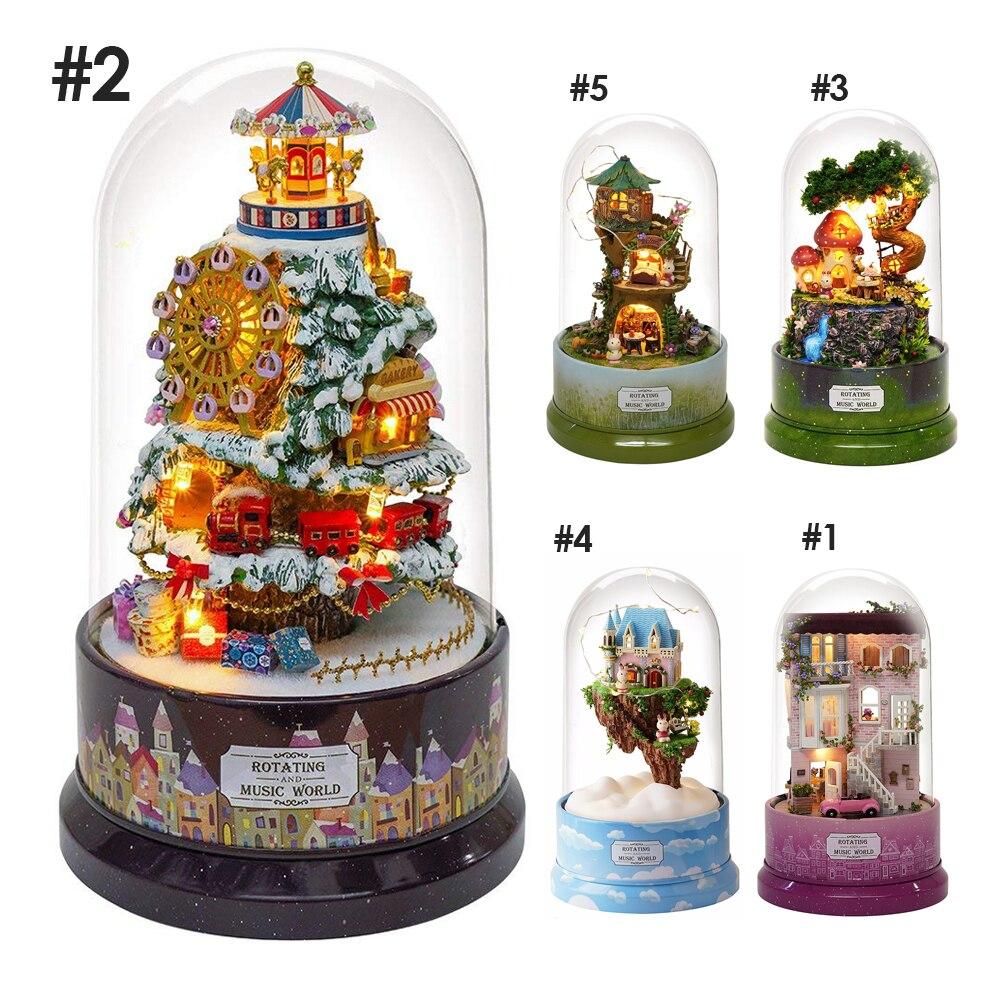1 piezas de música casa de muñecas decoración modelo DIY casa de muñecas con la cubierta transparente iluminación música para la decoración de la Navidad