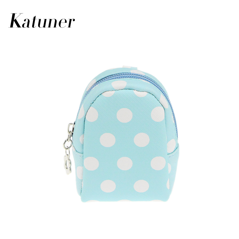 Katuner New Dot Mini Coin Purse Keychain Kids Children Coin Bag Women Key Money Bag Girls Purses Monedero Mujer KB021