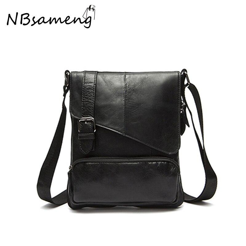 ФОТО  2017 Mens High Quality 100% Genuine Cowhide Leather Crossbody Bag Vintage Shoulder Bags Bolsa Feminina Briefcase