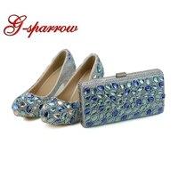 Синий Кристалл Свадебная вечеринка Высокие каблуки с муфтой коренастый пятки Rhinestone туфли лодочки для выпускного Золушка туфли для выпускн