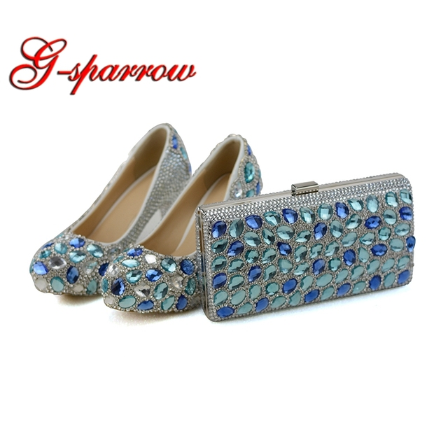 Blue Crystal Wedding Party High Heels with Clutch Chunky Heel Rhinestone Prom Pumps Cinderella Prom Shoes with Matching Bag