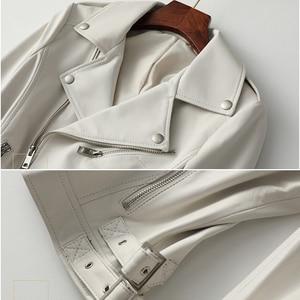 Image 4 - 女性白本物の革のジャケット長袖スリムジッパー本革コートレディースストリートシープスキンカジュアル原宿服