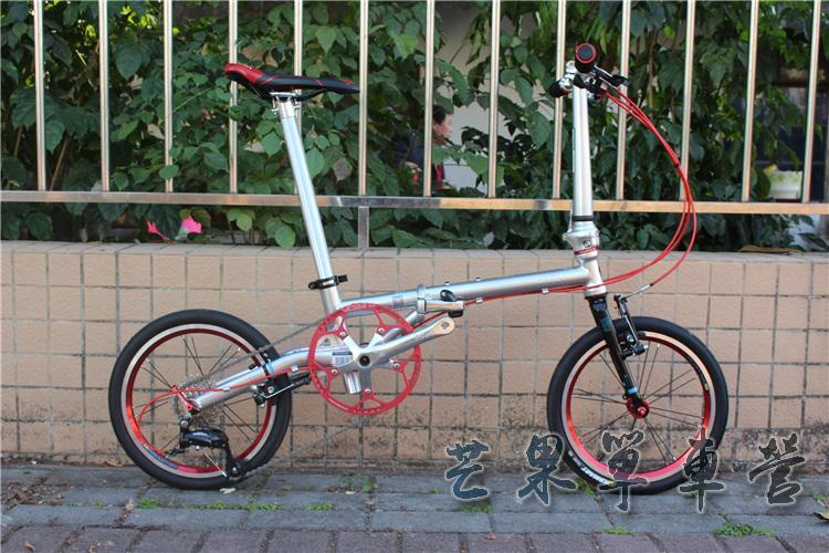 "HTB1lQiLXULrK1Rjy0Fjq6zYXFXaJ Fnhon CR-MO Steel Folding Bike 16"" Minivelo Mini velo 9 Speed Bike Bicycle overall bike V Brake"