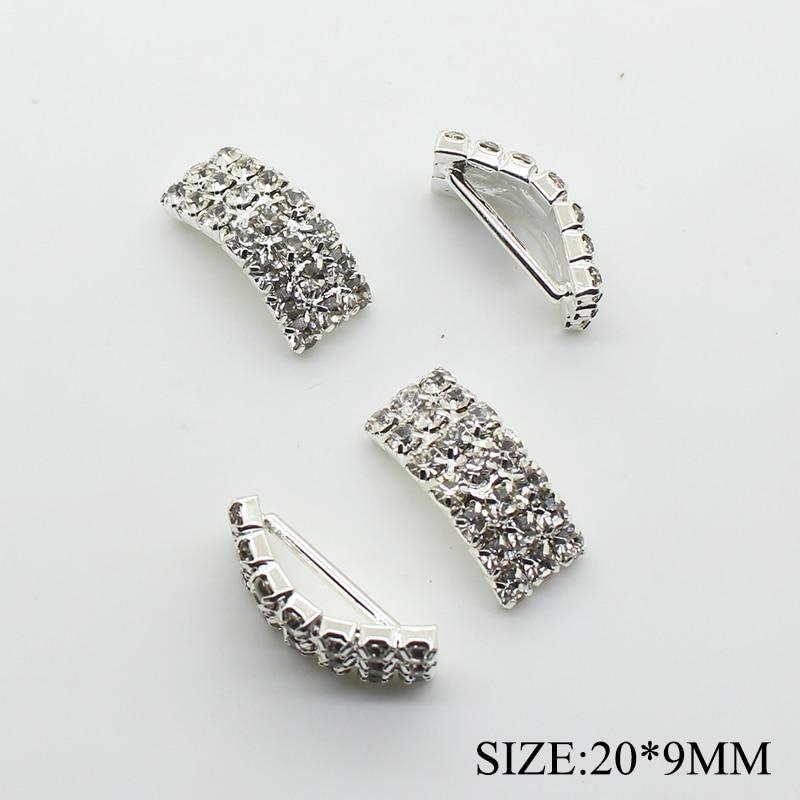 10pcs/lot 9*20mm Arch Rhinestone Buckles Ribbon Slider Women Clothing For Wedding Invitation Card Hair Craft Accessories
