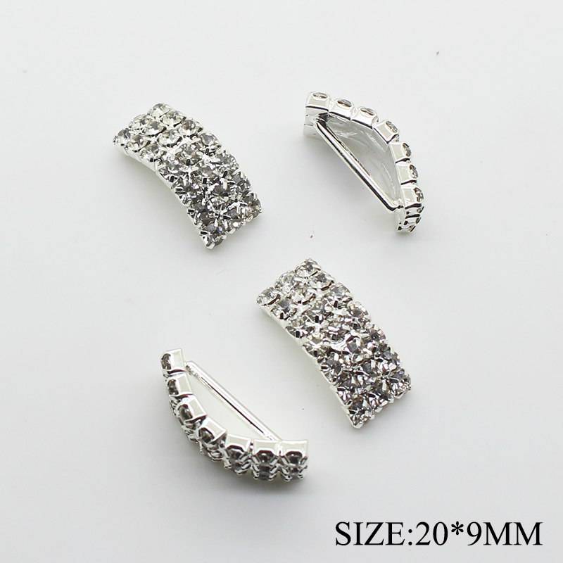 10pcs/lot 9*20mm Arch Rhinestone Buckles Ribbon Slider Women Clothing for Wedding Invitation Card Hair Craft Accessories(China)