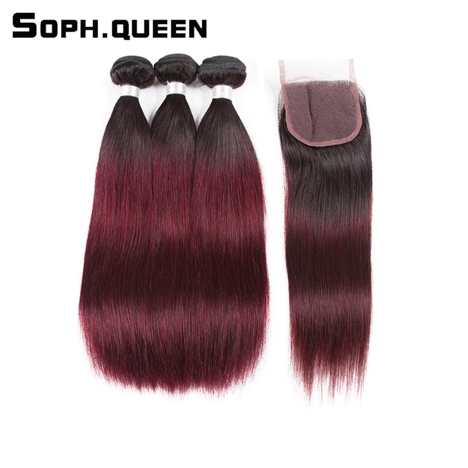 Rambut ratu Sophia Brazilian T1B / 99J Pra-warna Bundel Lurus Dengan - Rambut manusia (untuk hitam)