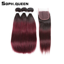 Soph queen Hair Brazilian T1B/99J Pre-Colored Straight Bundles With Closure Non-Remy Hair Human Hair Straight Weave