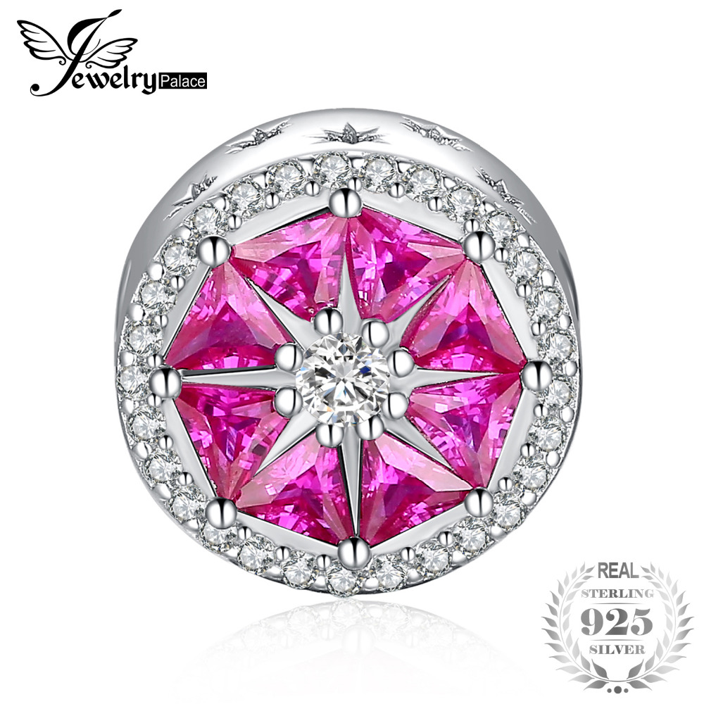 JewelryPalace Summer Love Grapefruit Slice 2.1ct Created Pink Sapphire 0.1ct Cubic Zirconia 925 Sterling Silver Charm BeadsJewelryPalace Summer Love Grapefruit Slice 2.1ct Created Pink Sapphire 0.1ct Cubic Zirconia 925 Sterling Silver Charm Beads
