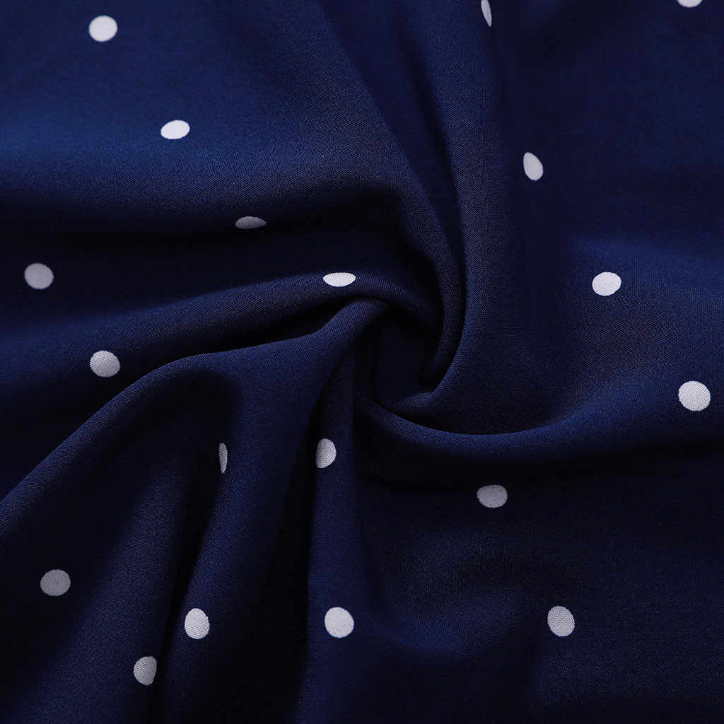 Youyedian 2019 Baru Kedatangan Blus Musim Panas Fashion Wanita Polka Dot Dicetak Blus Kasual V-neck Ruffles Lengan Tunik Kemeja Top