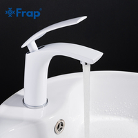 Frap New Basin Faucet Water Tap Bathroom Faucet Solid White Brass Cold & Hot Water Single Handle Water Sink Tap Mixer Y10044