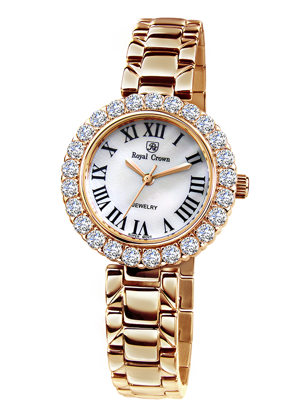 Royal Crown Jewelry Watch 6305S Italy brand Diamond Japan MIYOTA Rose gold Fine Fashion Stainless Steel Bracelet Gold Plated free shipping 1 set 32 pcs large gold steel watch crown kit for watch repair