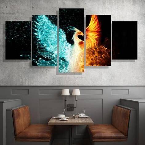 5 panels hd printed firebird phoenix wall art painting canvas