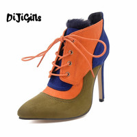 2016 Beautiful Fashion Patchwork Fall Winter Boots High Quality Women Shoes Lace Up Pointed Toe High