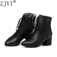 ZJVI women pointed toe ankle boots womens winterautumn 2019 woman 5.5cm square heels ladies black cross tied casual shoes