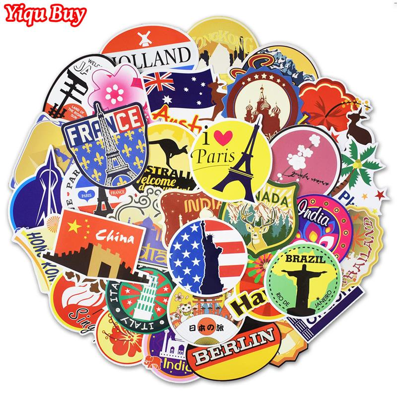 100 Pcs Retro Traveling Stickers Tourist Sites Graffiti Decal Sticker for Suitcase Laptop Luggage Bag Guitar Moto Fridge Bicycle image