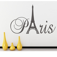 Paris Art Eiffel Tower Removable Vinyl Wall Stickers Decals Quote Living Room Bedroom Background Home Decor