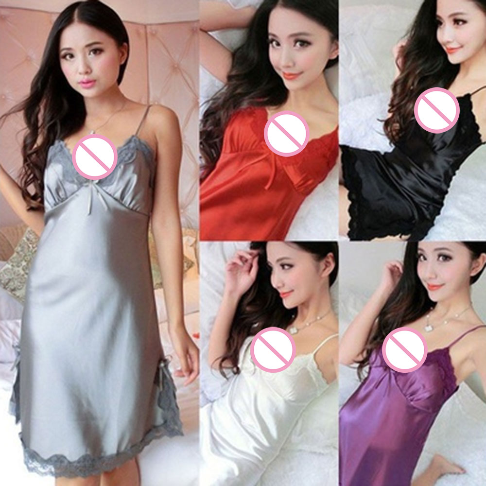 Sexy Women Lingerie Silk Lace Robe Dress Babydoll Nightdress Nightgown Sleepwear