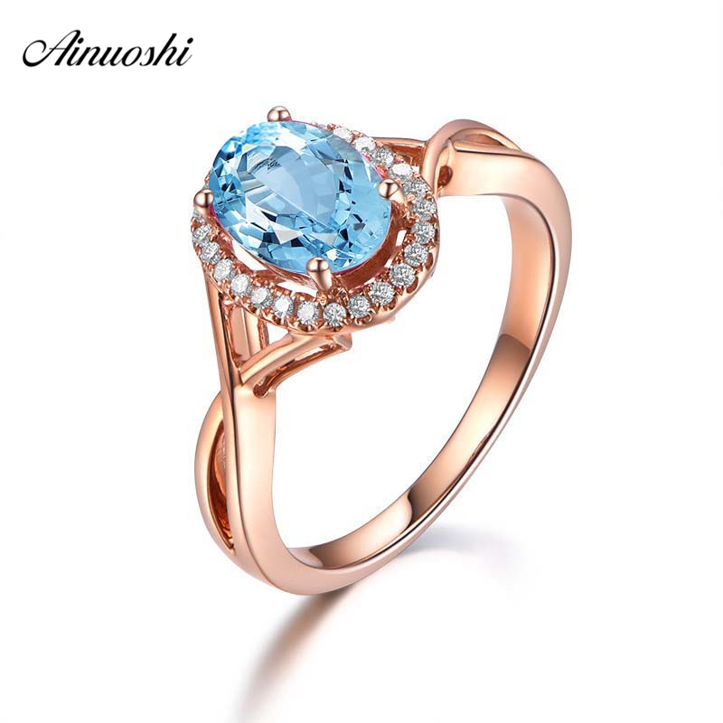 AINUOSHI Pure 925 Sterling Silver Natural Topaz Halo Ring 2 Carat Oval Cut Rose Gold Color Ring Woman Engagement Wedding Ring new pure au750 rose gold love ring lucky cute letter ring 1 13 1 23g hot sale