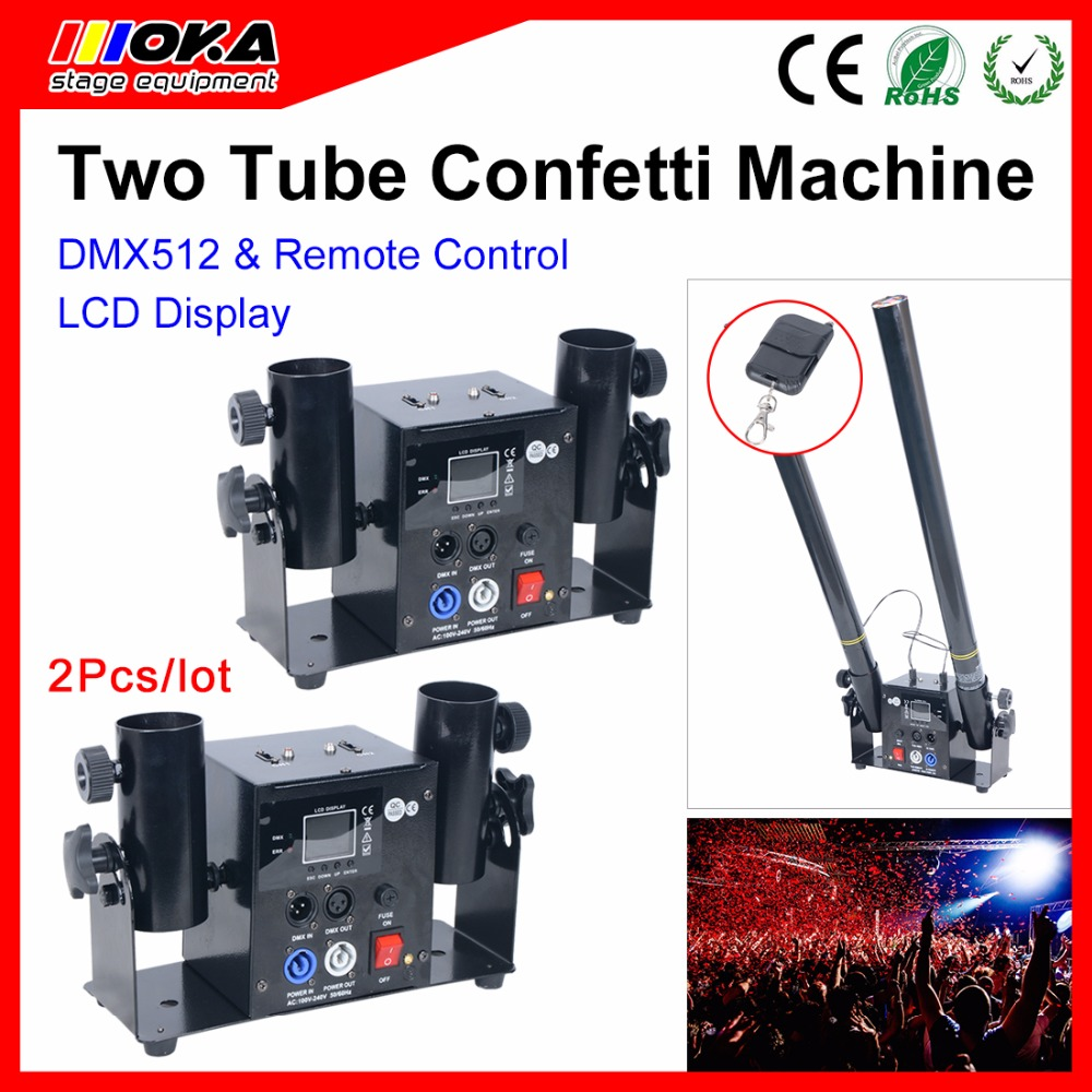 2Pcs/ lot two Head Confetti Machine, Wedding Blaster Electrical DMX/ Remote Control Stage Effects Confetti Cannon 4 pcs lot single nuzzle one head cannon confetti machine dmx control confetti shot for wedding disco party effects dj equipment