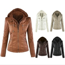ZOGAA Hot New Stylish Lady Faux Leather Long Sleeve Solid Color Zipper Removable Hooded Jacket Outwear
