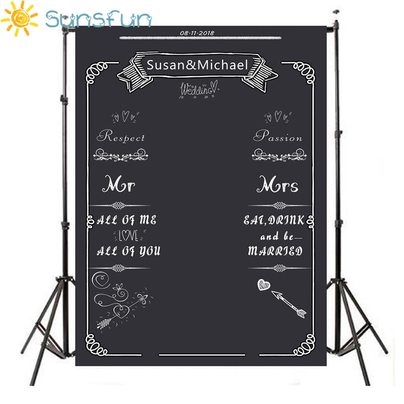 Sunsfun DIY Wedding Background Idea Chalk Archway backdrop chalkboard Custom name date backdrop photocall image